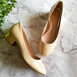 Lands' End | Ivory and Gold Patent Block Heel Pump